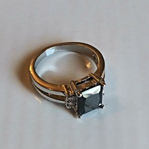 Adeser Jewelry - Faux Black Onyx and Silver Ring